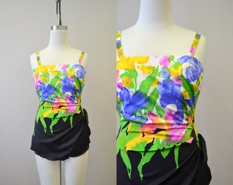 1980s Roxanne Watercolor Floral Skirted Swimsuit