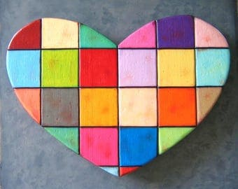 Large Wall Art Heart, Quilted Heart, Original Wood Wall Sculpture, Wood Carving, Wall Decor, Valentine, by Fig Jam Studio