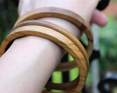 Trio of Wood Spacer Bangles, ca. 1970s, Wood Bracelets