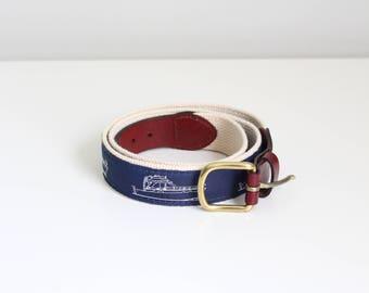 navy blue boat motif web belt - ribbon boat belt / Leather Man Ltd - Essex CT / preppy ribbon belt - preppy nautical belt - 34