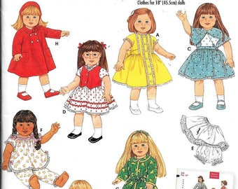 "Simplicity 4347 Archives 1950s Wrights 18"" American Girl Gotz Doll Clothes Sewing Pattern UNCUT Coat, Dress, Panties, Robe, Nightgown"