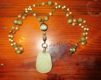 Hand Carved White JADE Flying BIRDS & Flower Blossoms Pendant/Amulet on Jade/JADEITE Rosary Chain w/Jade, Baroque Glass Pearl Accents