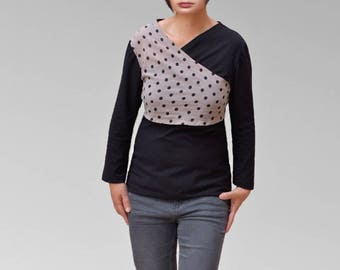 T-shirt Double crossed bi material cotton and jersey sleeves long