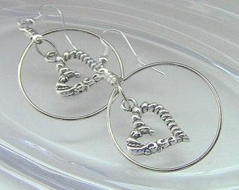 Heart Earrings, Gift For Her, Heart Dangle Earrings, Heart Hoop Earrings, Hearts