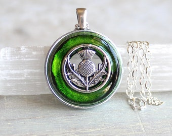 green Scottish thistle necklace, flower necklace, thistle jewelry, nature necklace, unique gift, Scottish jewelry, Scottish necklace