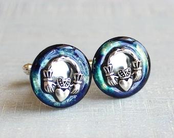night sky claddagh cufflinks, anniversary gift, irish cufflinks, irish jewelry, mens jewelry, irish wedding, best man gift, groomsmen gift