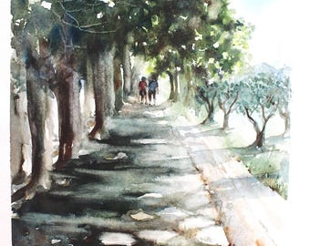 Watercolor Painting Print - Two People Walking - Tree Lane - Country Side - Summer