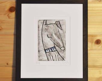 Limited editon whippet print, whippet art, handpulled print, handprinted whippet picture, whippet etching, handmade whippet print unframed