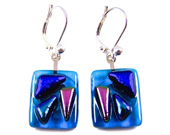 "Dichroic Earrings - Blue Aqua Teal Purple Violet Dichro Triangles Fused Glass Dangle Lever Back Eurowire Lever - Stained Glass - .5"" 13mm"