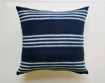 Vintage Indigo Mudcloth Pillow Cover with Stripes - Modern Minimalist Decor - Navy Throw Pillow