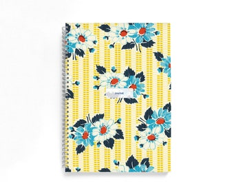 A4 Bullet Journal • Lined/Dotted Grid • Blue & Mustard Retro Flowers