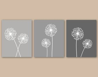 DANDELION Wall Art, Grey Bedroom Decor CANVAS or Art Prints, Bedroom Pictures, Flower Wall Art, Dandelion Print Set of 3 Home Decor