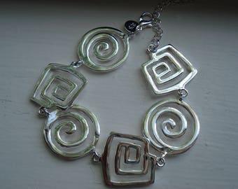 925 Silver Labyrinth Spiral Bracelet Native Tribal Inspired