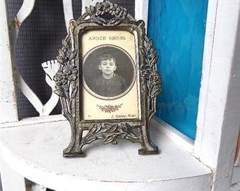 Antique French Art Nouveau Bronze Picture  Frame