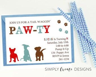 SALE Puppy Birthday Invitation 5x7  DIGITAL file Dinosaur Puppy Pawty Theme