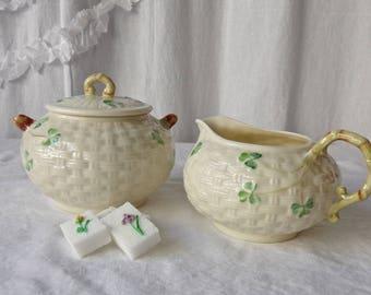 Vintage Belleek Sugar Bowl and Creamer Basket Weave Shamrock Pattern Seventh Mark Vintage 1980s