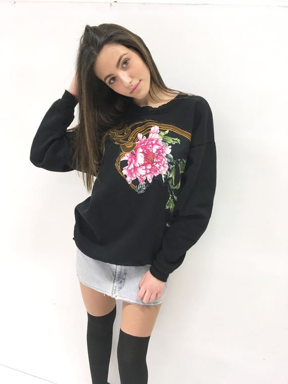 Black LOLA DARLING Crewneck Sweatshirt With Flower  Embroidery Fabric Patch Fleece inside Handmade in Italy Unique Limited Edition