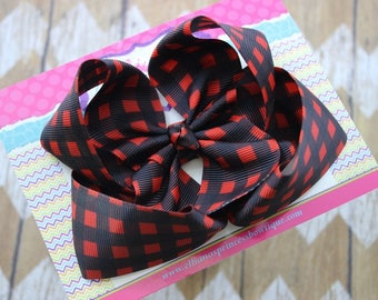 Baby Bows, Toddler Bows, Girls Hair Bows, Hair Clip, Buffalo Plaid Boutique Bow, Black Red Bow, Christmas Bow, Back to School, 4.5 Inch Bow