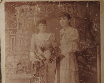 25% OFF Vintage Postcard, Vintage Photograph, Vintage Photograph Postcard, Two Ladies Photograph, 1800's Photograph