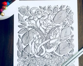 Adult Kids Twin Moons Coloring Page Original Snake Nature Art