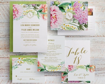 Spring Floral Wedding Invitation, Garden Floral, Botanical Garden, Printed Floral Wedding Invitation, Outdoor Wedding, Park Wedding