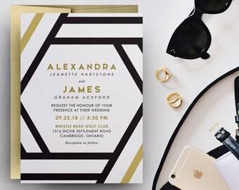 modern gold wedding invitations, gold foil print wedding invitations, gold wedding invitation template, foil stamped invitations, foil print