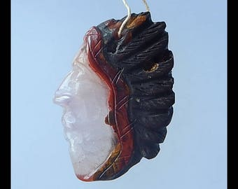 New Design, Carved Natural Zhanguo Red Agate  Gemstone Indian Head Pendant Bead,50x34x8mm,17.2g(f0755)