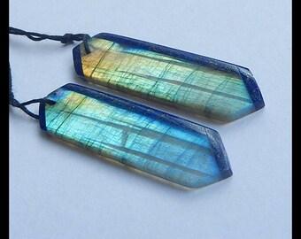 New,Lapis Lazuli,Labradorite Intarsia Gemstone Earring Bead,43x12x3mm,7.6g