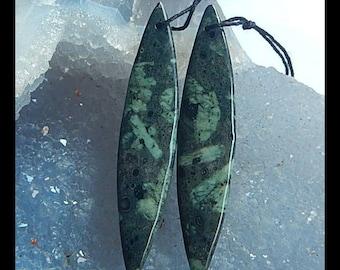 New,Unusual Stone Plant Fossil Gemstone Earring Bead,52x11x4mm,7.1g(E299)