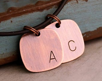 Custom initials Square Tags Duet / Rustic Copper Tag / Kids initials Necklace / Antique copper Initials Tag / Father's Day / Gift for Daddy