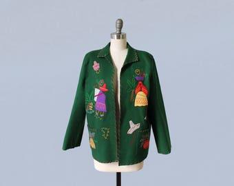 1940s Jacket / 40s Mexican Tourist Jacket / Wool and Felt Applique Souvenir Jacket / Large