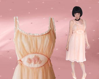 50s Ballerina Nightgown can be a Chiffon Formal Dress, Kawaii Baby Doll in Pin Up Lingerie, Gotham Gold Stripe Fit and Flare, Unused Vintage