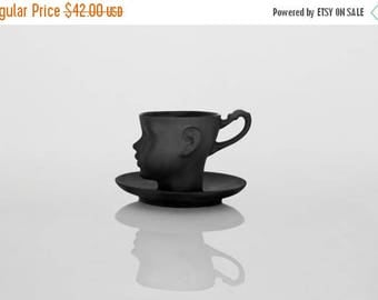 SALE Porcelain doll head cup in black with saucer - whimsical black ceramic artisan mug, for coffee or tea
