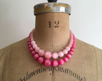 1950s 1960s Pink Moonglow Double Strand Bead Necklace 50s 60s