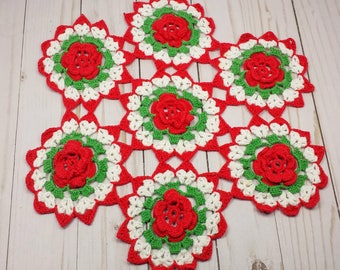 Vintage Flower Doily, 12 Inch Joined Flower Doily in White, Green, and Red, Christmas Table Doily