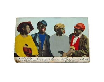 Antique 1906 Authentic Black Americana Postcard - Four of a Kind - Used Postcard Politically Incorrect Classic Black Americana Postcard