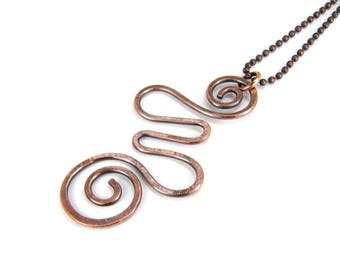 Abstract Hammered Copper Wire Pendant Necklace, Antiqued Patina, Hammered Copper Abstract Swirl Necklace