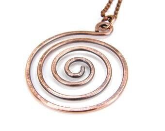 Hammered Copper Spiral Pendant Necklace, Antiqued Patina, Hammered Copper Swirl Necklace Item 012