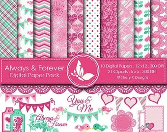 40% off Always and Forever Paper Pack - 10 Digital papers 12 x12 300 DPI - 21 Cliparts 5 x5 300 DPI