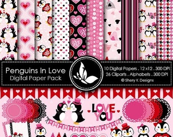 40% off Penguins In Love Paper Pack - 10 Digital papers 12 x12 300 DPI - 26 Cliparts - 3 Alphabet sets - 300 DPI