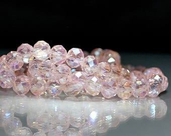 25 pcs 6x4mm Transparent Pale Pink AB Faceted Rondelle Glass Beads  PP/AB-1
