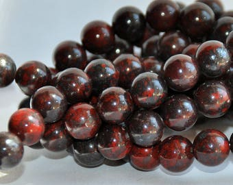 Half Strand 8mm Bloodstone Gemstone Beads - 22 beads