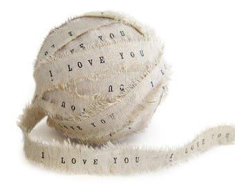 Cream Ribbon . personalized ribbon . diy wedding favors ribbon . personalised Ribbon . favor ribbons . i love you ribbon