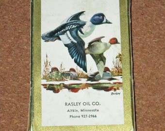 Vintage DUCKS Deck Playing Cards Advertising Rasley Oil Company Minnesota by Brown and Bigelow Redislip