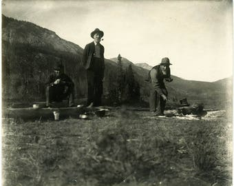 "Antique Photograph ""Beans for Breakfast...Beans for Lunch"" Photo Old Americana Camping Farming Life Men Eat Campfire Found Vernacular - 41"
