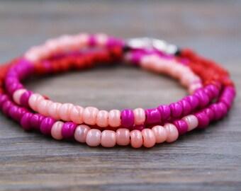 Pink Wrap Bracelet - Pink Ombre Bracelet - Pink Beaded Wrap Bracelet - Pink Beaded Bracelet - Hot Pink Bracelet - Layered Bracelet - Gifts