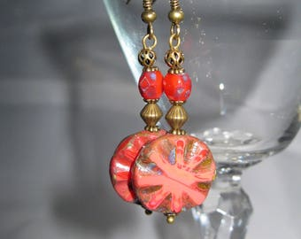 Czech Glass Earrings, Czech Red Coin with Starburst and Czech Red Oval Picasso Bead with Bronze Filigree Bead and Bronze Metal Spacers
