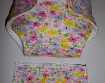 Baby Doll Diaper/wipe - meadow flowers in purple, yellow and pink- Size Regular/Medium -  adjustable for many dolls such as bitty baby