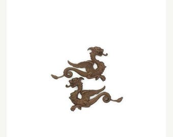 SALE 30% OFF Dragon Winged Sea Serpent Bronze Shimmer Brown Brass Stamping Pair Left and Right side Made in the USA