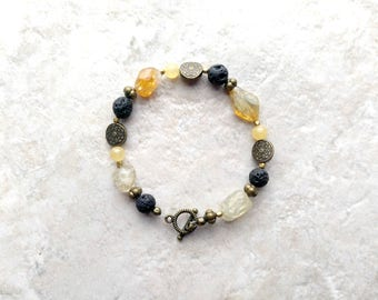 Essential oil diffuser, Bracelet, citrine and black, lava bead bracelet, yellow and black, bohemian style, mothers day gift, gift for her